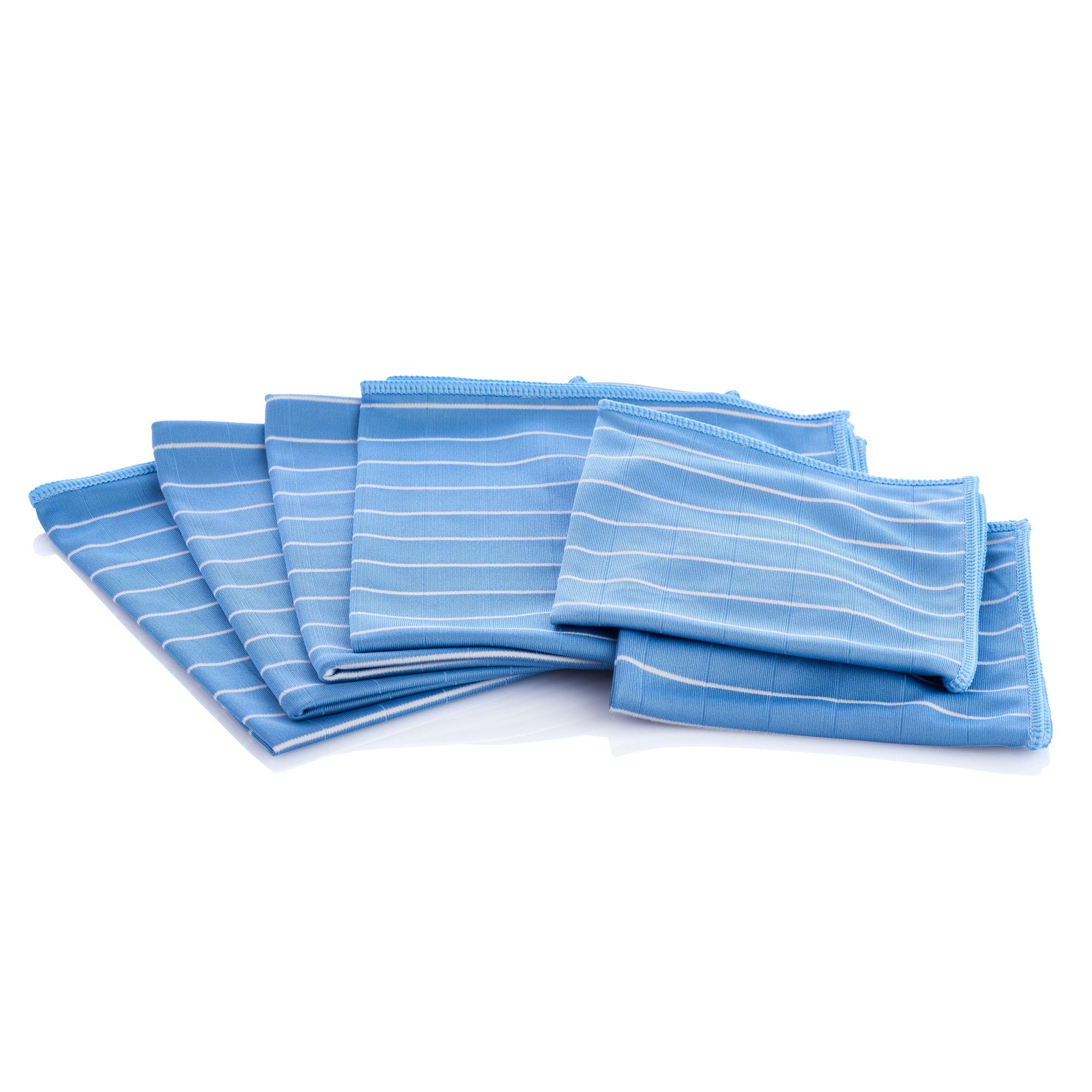 AQUA LASER BAMBUS Mikrofaser Glas - und Fenstertücher 6er Set - blau