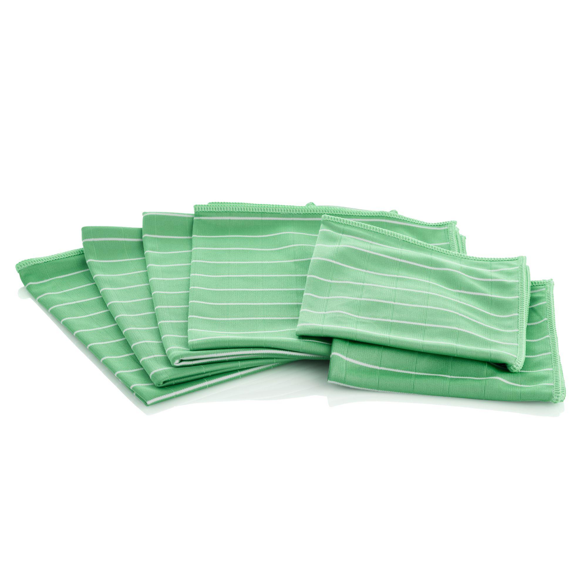 AQUA LASER BAMBUS Mikrofaser Glas - und Fenstertücher 6er Set - grün